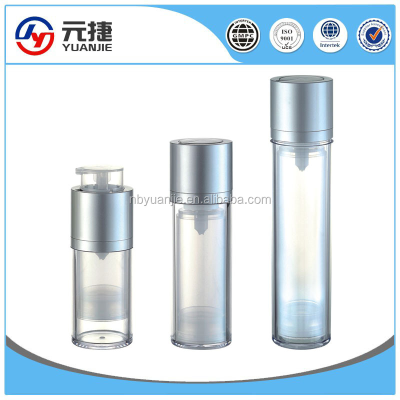 50ml 100ml silver shadow transparent cream travel set airless pump bottle