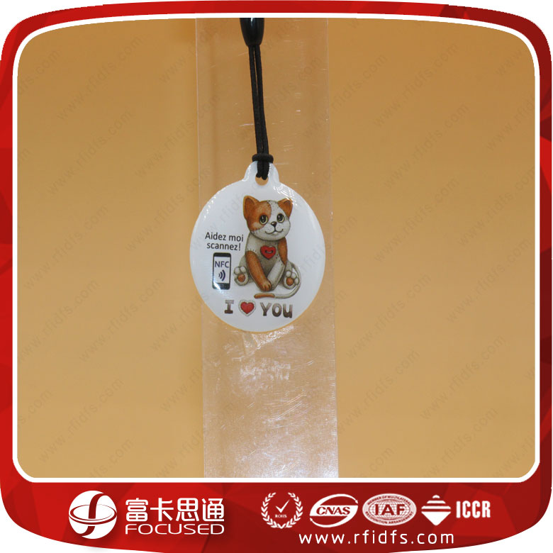 NFC NTAG213 Pet ID Collar rfid epoxy tag with QR code/ nfc pet tracking dog tag