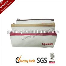 White plain leather zipper pencil case
