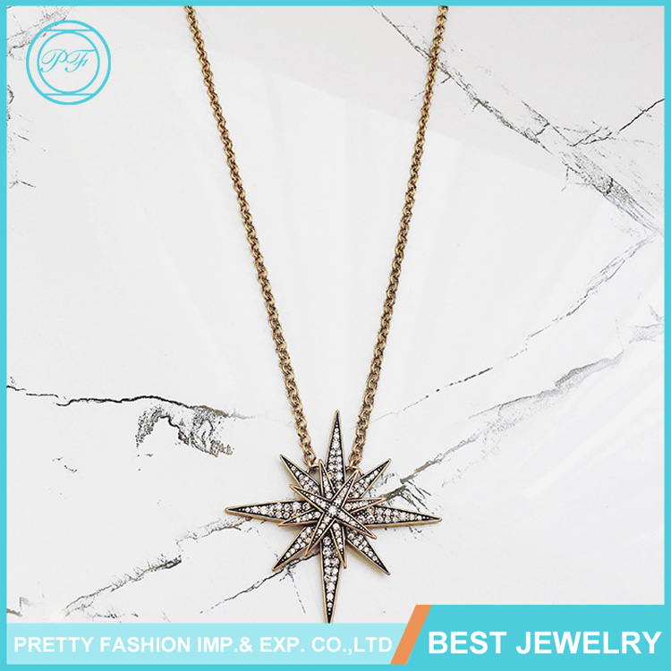 N093 Wholesale New Designs Necklace Retro Exaggerated Level Flash Drill Starfish Pendant Necklace