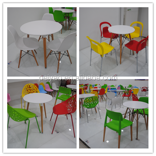 Colorido! modernas cadeiras de jantar de plástico ao ar livre