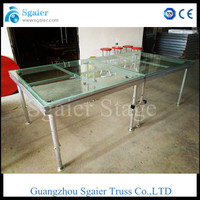 aluminum portable stage with plywood , transparent glass stage
