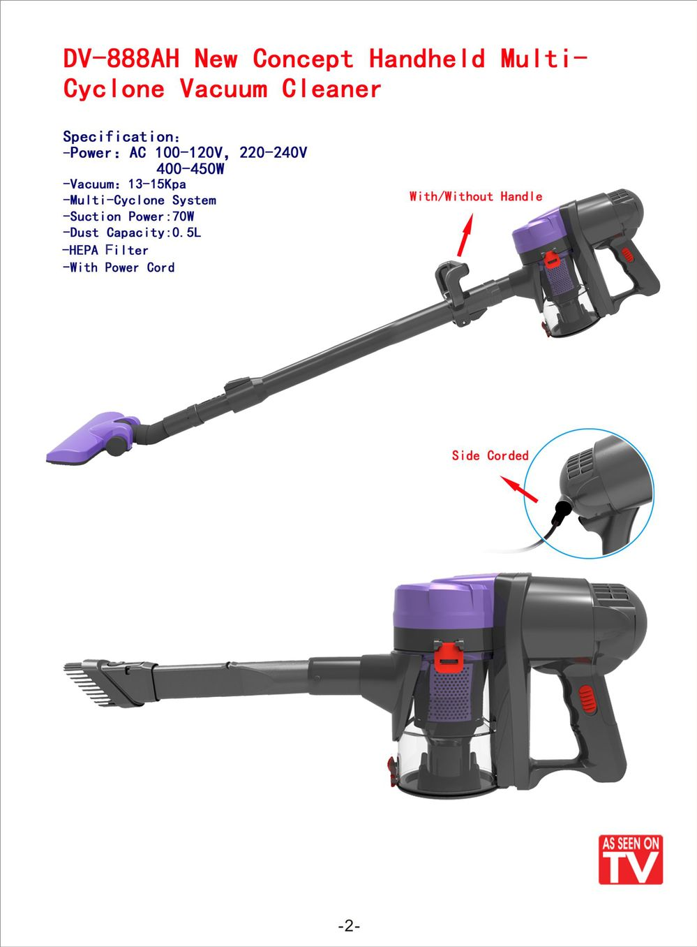 Corded Hand Stick Vacuum Cleaner AS SEEN ON TV Multi Cyclone Vacuum Cleaner