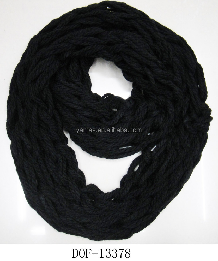 Fashion winter ladies knitted loop noodle acrylic plain handmade crochet scarf
