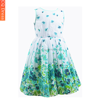 Latest summer custom designs girl net dresses with flower printing
