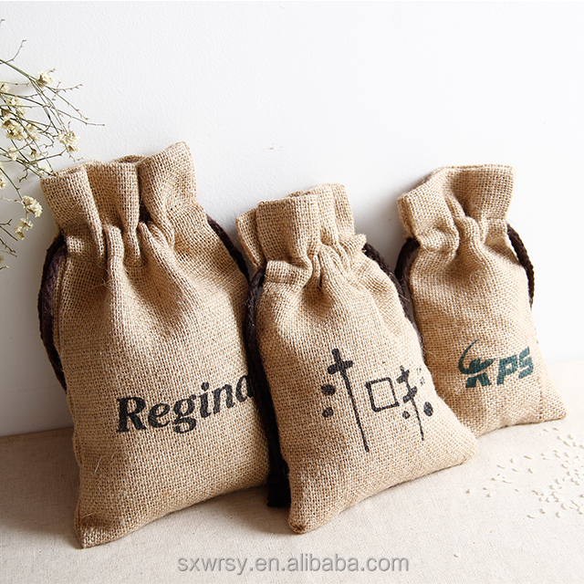 Custom logo screen printed natural fabric free sample drawstring hemp pouch, jute pouch