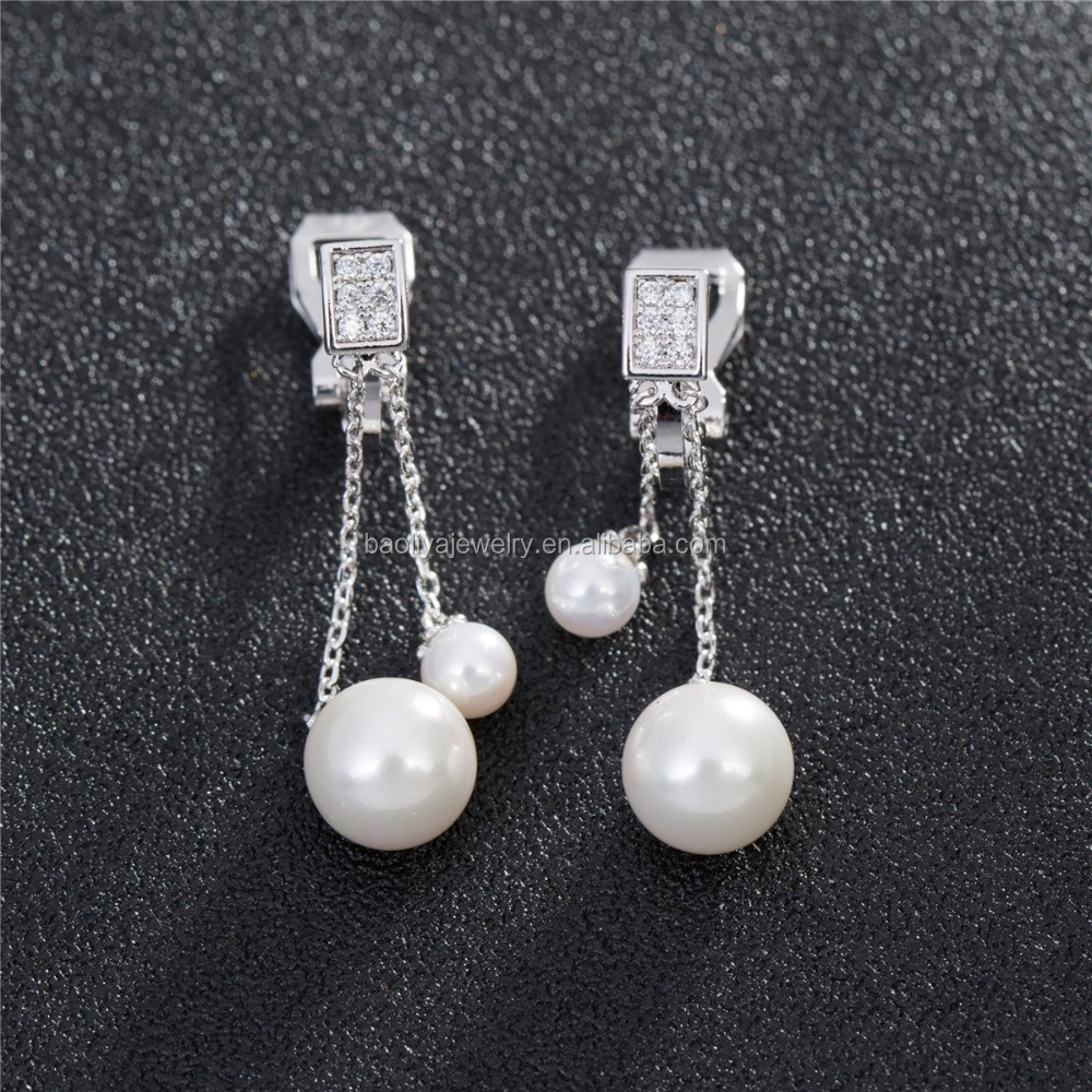 EG4537 pearl pendant earring new model design earring for party pearl drop earring