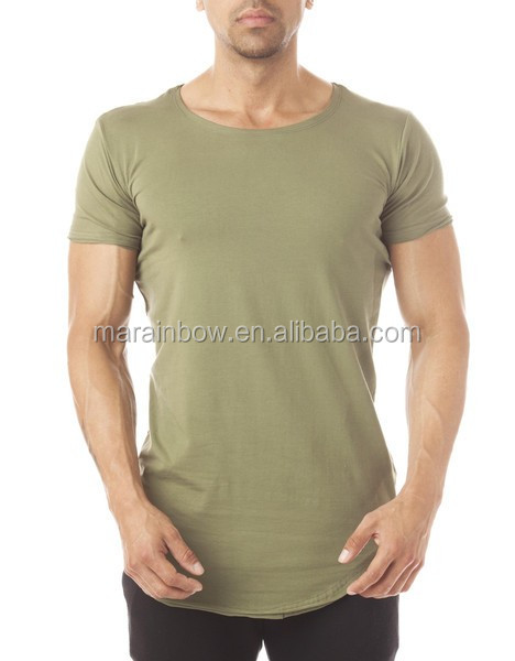 Oliver Green Scoop Neck Mens Longline T Shirt Spandex Cotton White Plain Gym T Shirt Short Sleeve Curved Hem T Shirt