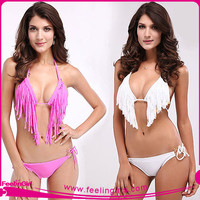 Cheap Popular Girl Sexy Shiny Swimwear Fringe Bikinis
