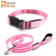 New Pink Flashing Light up Circular Pendant Collar Polyester LED Dog Night Safety Collars and Leashes