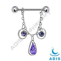 New Gothic chain tanzanite zircon 14g nipple dangle ring