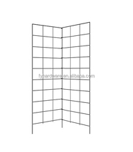 Wrought iron two panel folding trellis, vineyard stakes, plant support cage