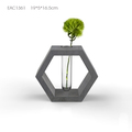 Home decor Hexagon glass flower pot with concrete top