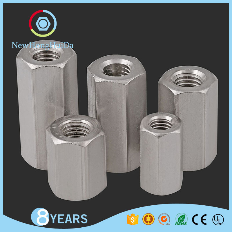 A2-70 Stainless Steel/Zinc Hexagonal Connecting Nut For Threaded Rod,Connector Threaded Long Hex Coupling Nuts Din 6334