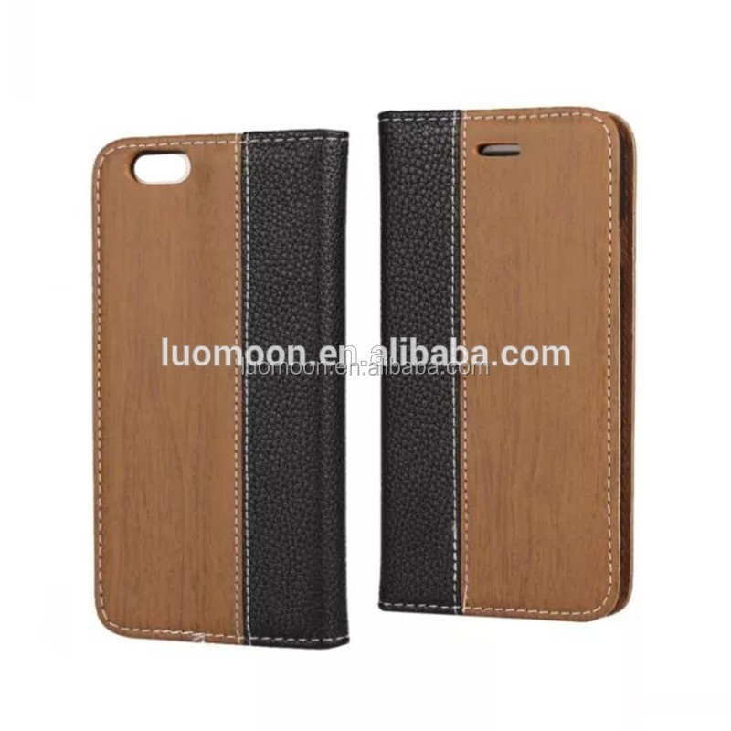 wood flip wallet pu leather case cover for cell mobile smart phone with card holder for Samsung Galaxy s6 edge