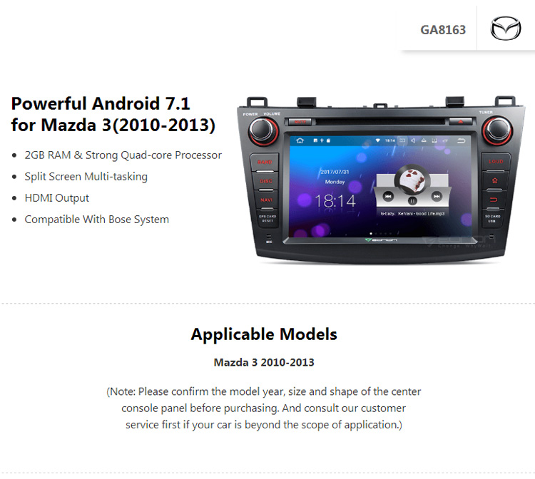EONON GA8163 for Mazda 3 2010-2013 Android 7.1 8inch Multimedia Car DVD GPS Navigation Compatible with HDMI