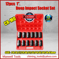 Professional Automobile Repairing Tools 12pcs 1inch Drive Deep Impact Socket Set 6pt CR-MO/CR-V Material On Sale