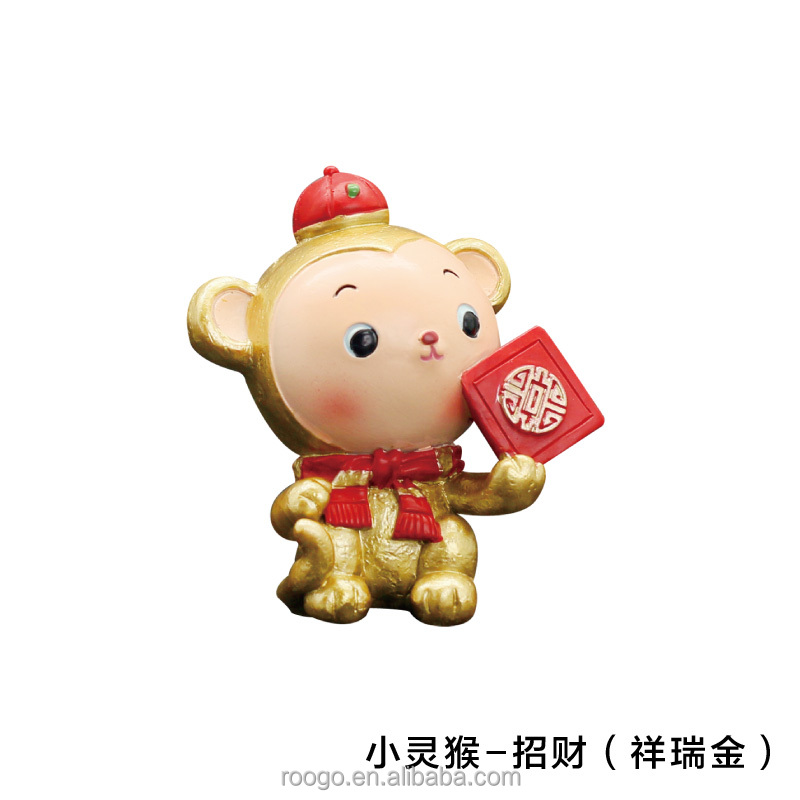 Roogo resin china new year cartoon funny gold health baby monkey figures for kids toy