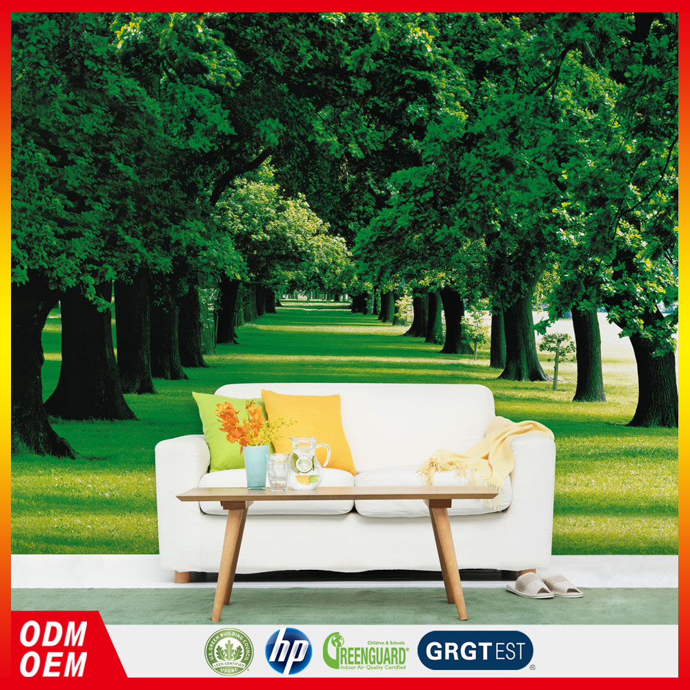 hot sale 3D green forest landscape wallpaper decor wall murals for home wall