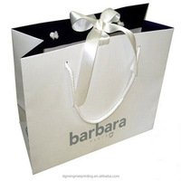 Luxury White Art Paper gift bags with Ribbon Handle