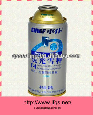 R134a refrigerant aerosl can 250ml with high opacity at different size