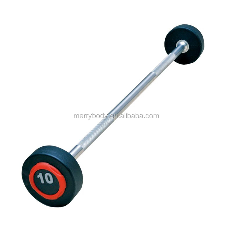 High quality weightlifting pu barbell with long bar