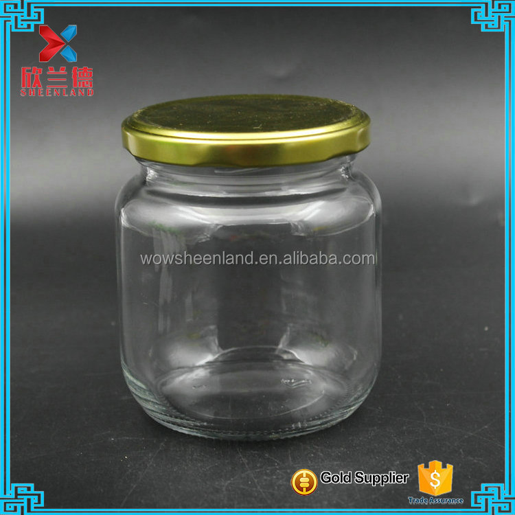 Wholesale hermetic transparent glass storage jar air tight jar of jam pot food pickles 450ml glass bottles of honey