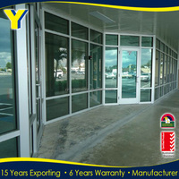 Commercial Used Aluminum Storefront Door with Impacted Double Panel Glass Meet AAMA Standard