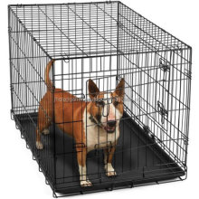 Heavy Duty Foldable Double Door Dog Crate Cages with Divider And Removable ABS Plastic Tray