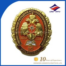 Unique making embossed enamel metal badge for souvenir