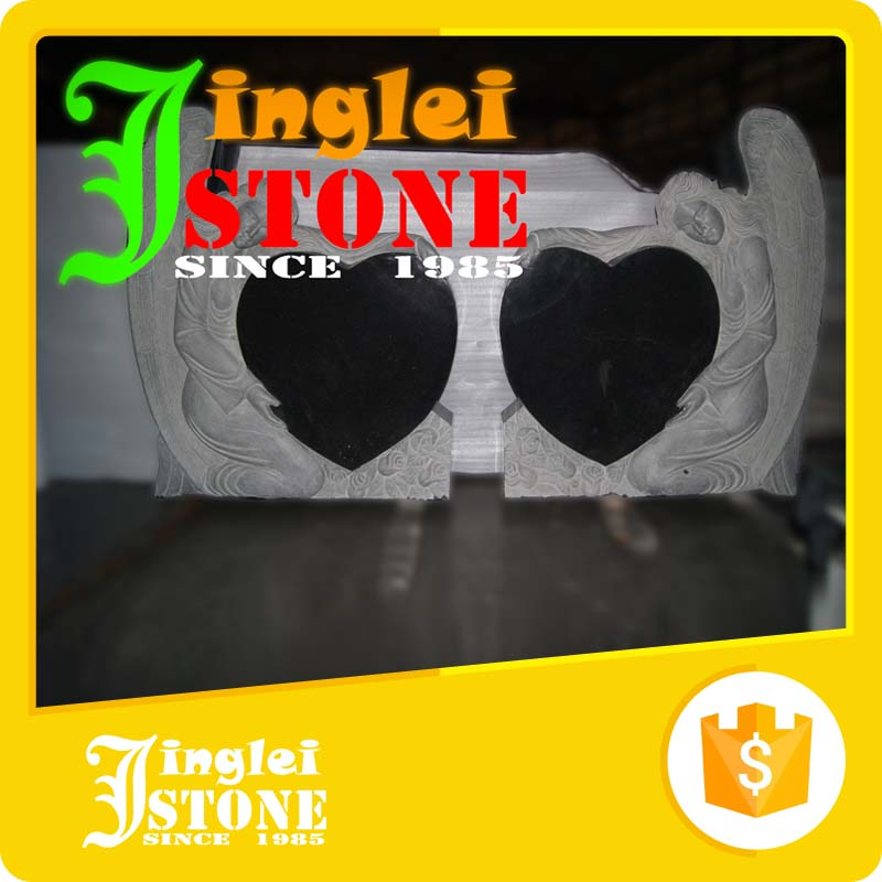 Polished Shanxi Black Monument Granite Double Heart Design Monument