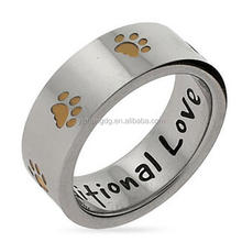 Stainless Steel Unconditional Love Golden Paw Print Ring