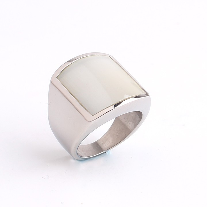 Domineering Imitation opal punk 316L Stainless Steel finger rings for men women jewelry wholesale