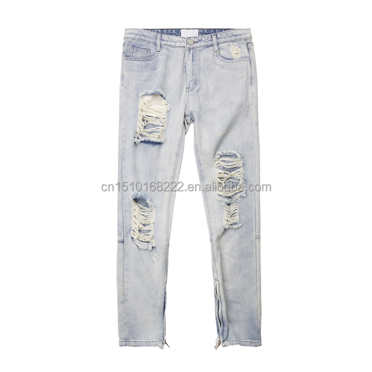 Men's <strong>Fashion</strong> Destroyed Straight Denim Jeans