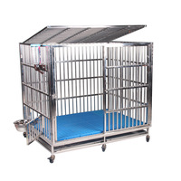 Fully welded stainless steel dog cage thick high-grade stainless steel square tube dog cage metal dog kennel