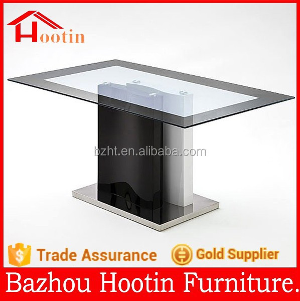 2015 high quality new design glass and stainless steel dining table and chairs for home furniture