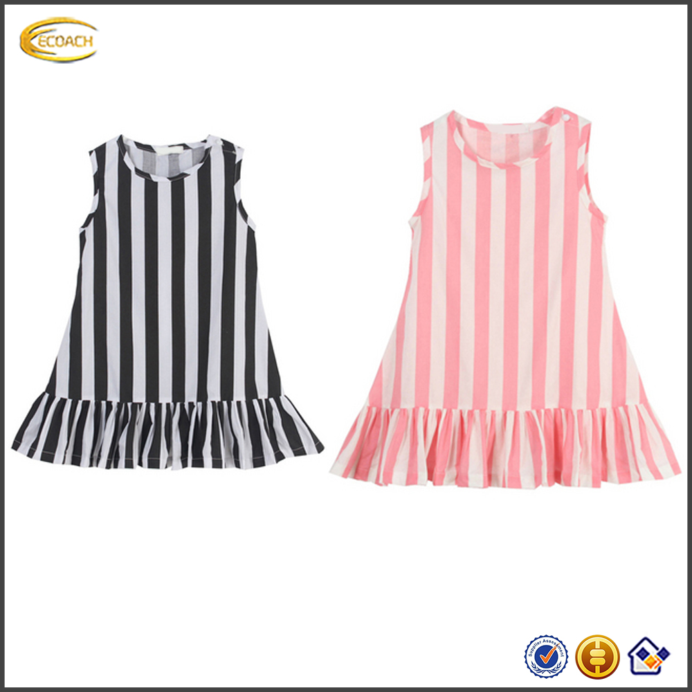 2016 Summer new baby cotton frocks Design o neck stripe sleeveless ruffle dress wholesale boutique clothing dresses for girls