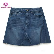 Women denim A-line skirt with dark blue simple style for ladies jeans dress