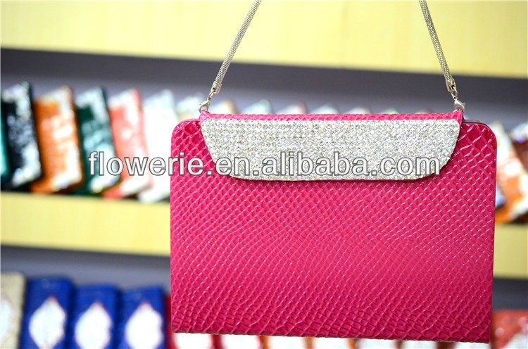 FL284 hot selling Snakeskin crystal glitter wallet leather case for ipad mini 2