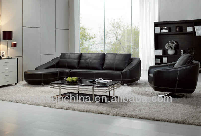 2013 new style modern comfortable golden BI-CAST quality pure leather sofa bad