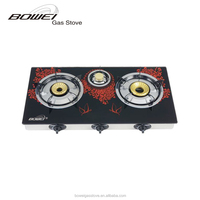 Tempered glass 3 burner restaurant equipment gas stove