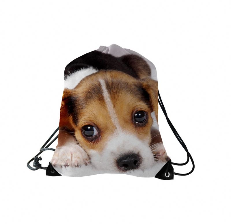 Cheap Cute Pets Calico Polyester Sport Drawstring Backpack Bag