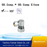 High quality lead free c46500 copper cUPC brass compression fitting O.D.comp. brass compression elbow