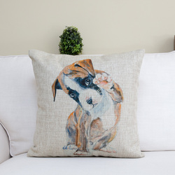 Handmade cotton&linen painted cute dog printed square pillow for home