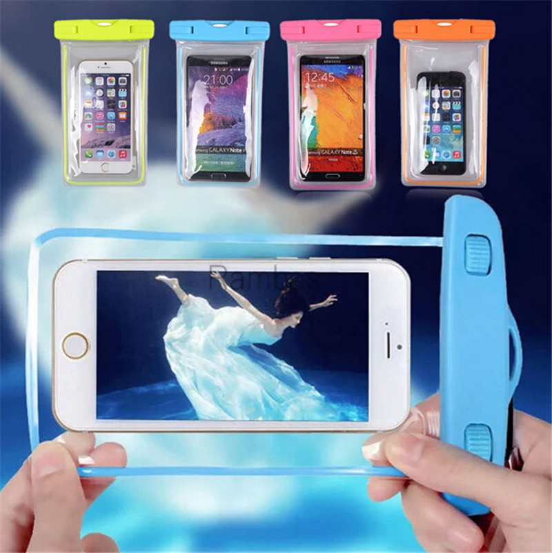 Noctilucent Waterproof Phone Case Cover Underwater Dry Bag Pouch for HTC One M9 M8 M7 for LG G4 G3 G2 Nexus 5 6 for Nokia Lumia