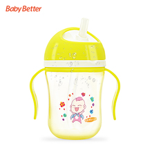Babybetter 300ml Portable PP Cute Baby Straw Cup Infant Bottle Children Learn Feeding Drinking Juice Water Bottle with Handle