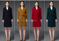 high end women's pure cashmere wool coat with waistband and winter 100% wool wind coat for girls