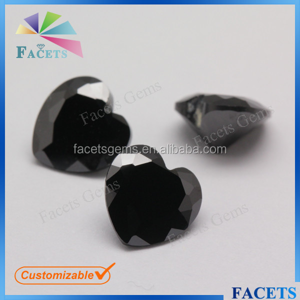 FACETS GEMS Wholesale Artificial CZ Heart Cut Moissanite Black Diamond