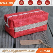 Waterproof cosmetic bag, jute waterproof cosmetic bag