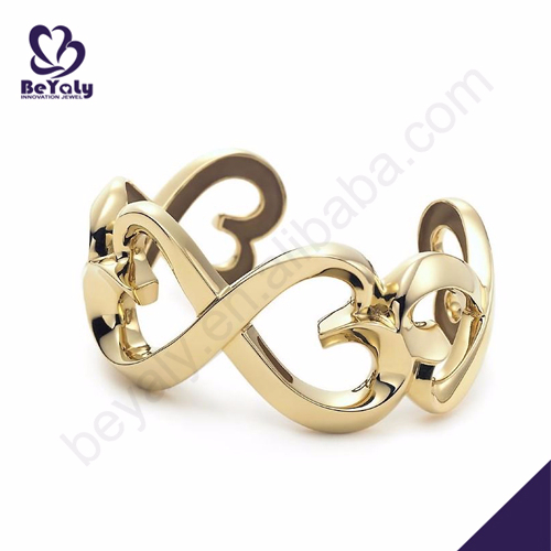Fancy women hollow gold plated silver bow bracelets
